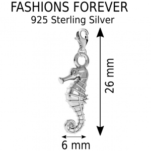 925 Sterling Silver Seahorse Clip On Charm
